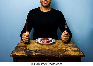 coeur, avoir, jeune homme, déjeuner