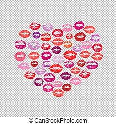 coeur, baiser rouge lèvres, fond, impression, transparent