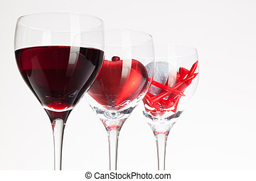 coeur, balle, lunettes, vin, vin, rouges, golf