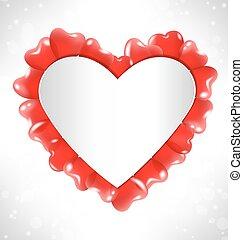 coeur, balles, texte, cadre, grayscale, air, forme, rouges