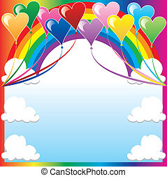 coeur, balloon, fond