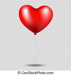 coeur, balloon, transparent, fond, rouges