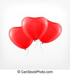 coeur, balloon, transparent, rouges