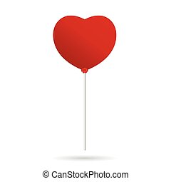 coeur, balloon, vecteur, rouges