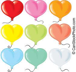 coeur, balloonrs, formé