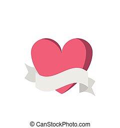 coeur, bannière, ruban