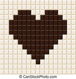 coeur, barre, forme., chocolat