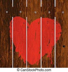 coeur, barrière, peint, sur, bois, rouges