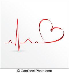 coeur, battements, cardiogramme, icône