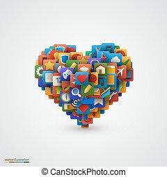 coeur, beaucoup, application, icônes