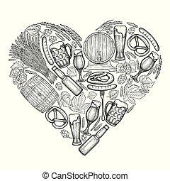 coeur, bière, graphique