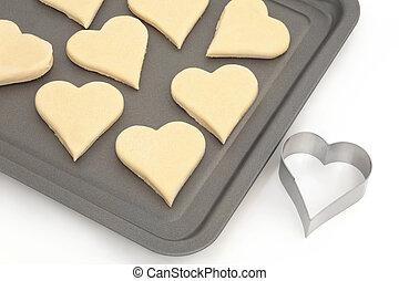 coeur, biscuits, coupeur pâtisserie