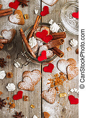 coeur, biscuits, fait main, jour, valentin