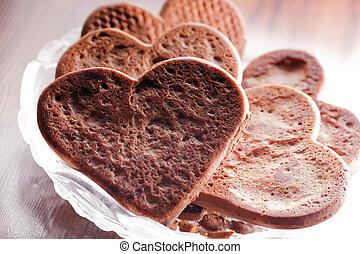 coeur, biscuits, formé, pain épice