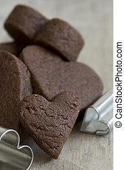 coeur, biscuits, -, haut, foyer, sélectif, petit gâteau, fin, coupeurs
