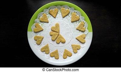 coeur, biscuits, plaque, formé, arrêter animation mouvement, apparaît