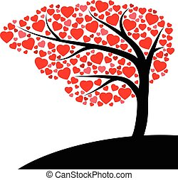 coeur, blanc, arbre, arrière-plan rouge