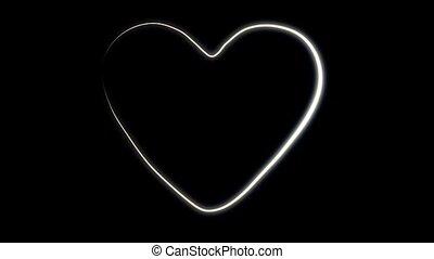 coeur, blanc, esquissé