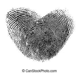 coeur, blanc, isolé, empreinte doigt