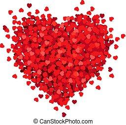 coeur, blanc, isolé, fond, rouges