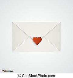 coeur, blanc, lettre, arrière-plan.