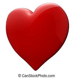 coeur, blanc rouge, fond, 3d