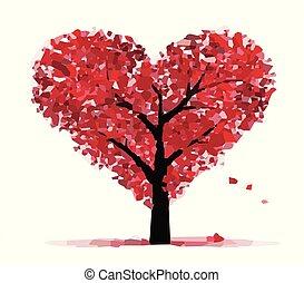 coeur, blanc, vecteur, arrière-plan rouge