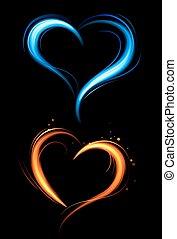 coeur, bleu, rouges, brûler