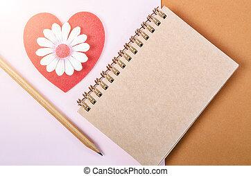 coeur, bois, agenda, vide, pen., rouges