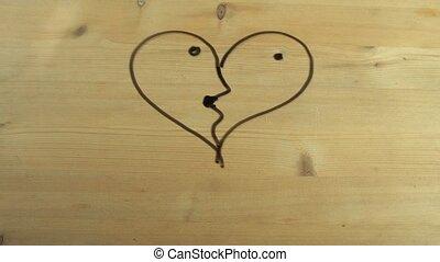coeur, bois, couple, tourné, surface, main, forme, whipes, baisers, mâle, dehors
