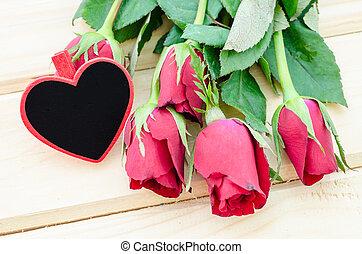 coeur, bois, forme, étiquette, roses., vide, rouges