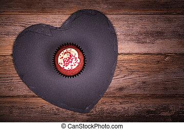 coeur, bois, petit gâteau