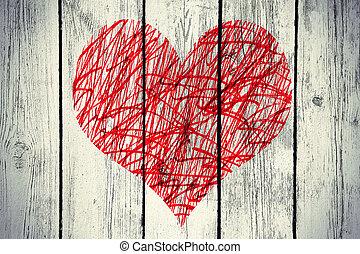 coeur, bois, vendange, résumé, mur, modèle, désordre