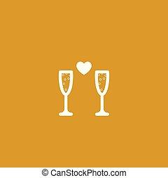 coeur, boisson, ligne, glasses., valentin, blanc, jour