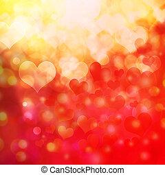 coeur, bokeh, fond, formé