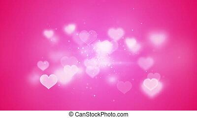 coeur, bokeh, formes, loopable, rose