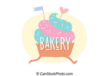 coeur, boulangerie, petit gâteau, texte