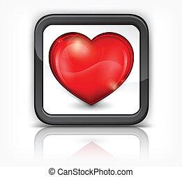 coeur, bouton, carrée, rouges