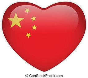 coeur, bouton, drapeau chine, lustré