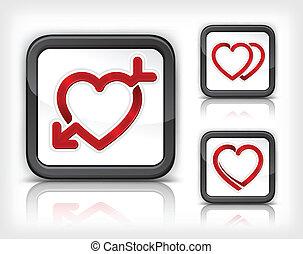 coeur, bouton, flèche