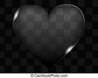 coeur, bouton, transparent, verre, vecteur, ou