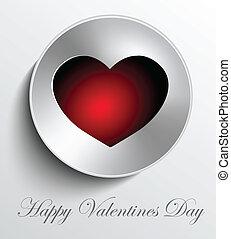 coeur, bouton, valentines, métal