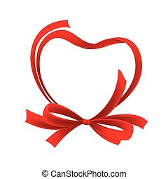 coeur, bow., vecteur, illustration, ruban, rouges