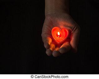 coeur, brûlé, hands.