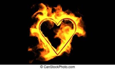 coeur, brûlé, jour