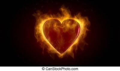 coeur, brûlé, rouges, flammes