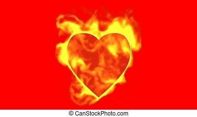 coeur, brûler, brûlé