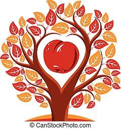 coeur, branches, pomme, symbolique, feuilles, arbre, intérieur., illustration, idée, forme, vecteur, picture., fertilité, productivité