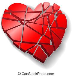 coeur, brisé, valentin, cassé, morceaux, rouges