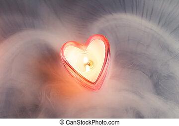 coeur, brouillard, dense, brûlé, bougie